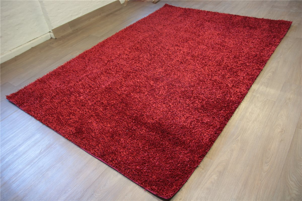 hochwertiger teppich shaggy hochflor 200x300 cm langflor rot schwarz. Black Bedroom Furniture Sets. Home Design Ideas