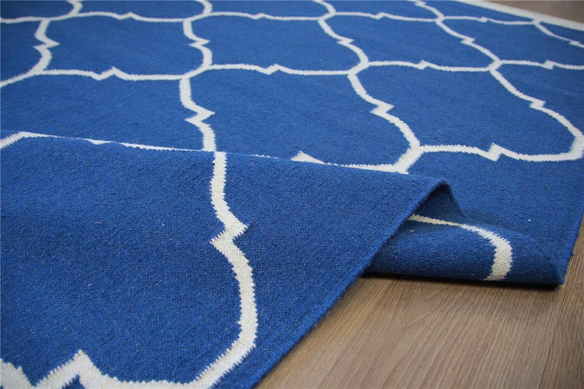 hochwertiger teppich kelim kilim 160x230 cm 100 wolle blau ebay. Black Bedroom Furniture Sets. Home Design Ideas