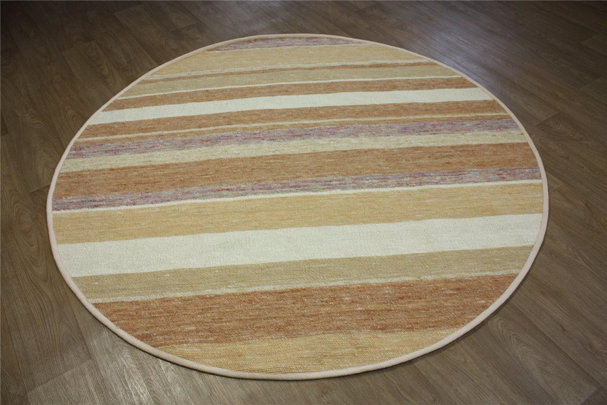 hochwertiger teppich kelim rund 200x200 cm 100 wolle handgewebt streifen ebay. Black Bedroom Furniture Sets. Home Design Ideas