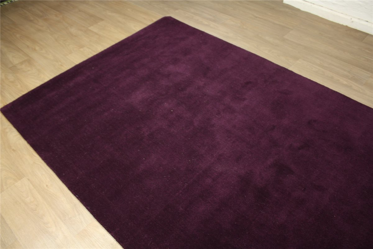 tapis de qualit 170x230 cm 100 laine travail manuel mauve violet ebay. Black Bedroom Furniture Sets. Home Design Ideas