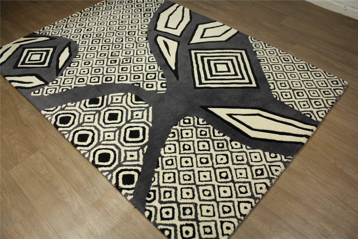 hochwertiger teppich 170x240 cm 100 wolle handarbeit grau creme ebay. Black Bedroom Furniture Sets. Home Design Ideas