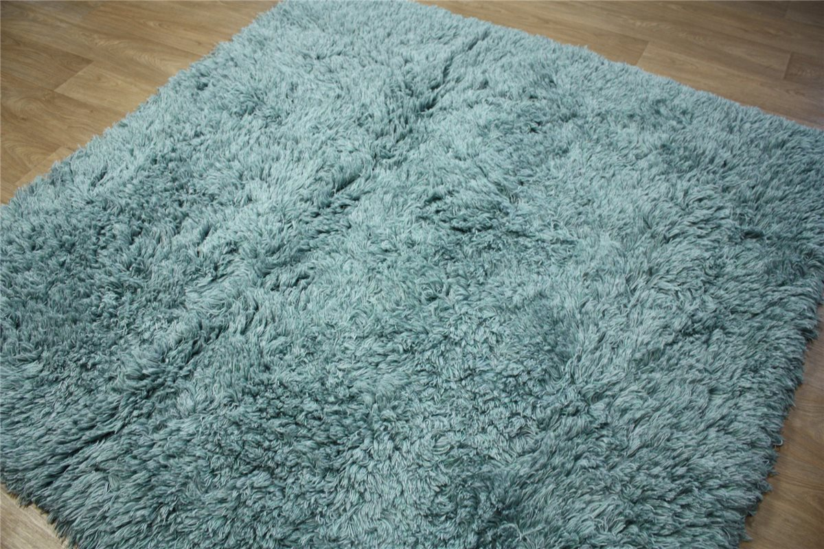 de alta calidad alfombra shaggy 200x200 cm 100 lana tejida tonos azul ebay. Black Bedroom Furniture Sets. Home Design Ideas