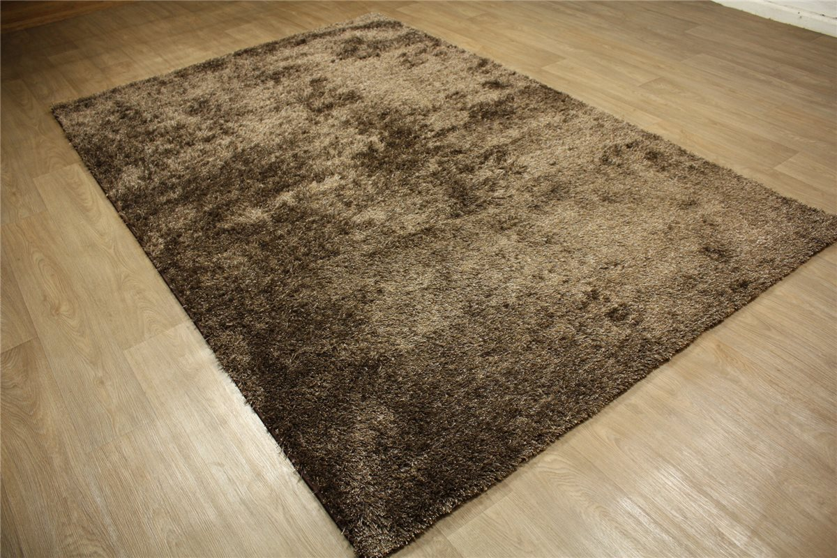 hochwertige teppich shaggy hochflor 200x300 cm langflor 5kg m braun ebay. Black Bedroom Furniture Sets. Home Design Ideas