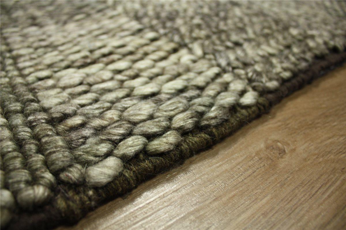 hochwertiger teppich 170x230 cm 100 wolle handgewebt braun meliert ebay. Black Bedroom Furniture Sets. Home Design Ideas