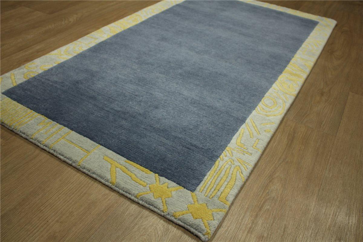 teppich original nepal fein br cke 90x160 cm 100 wolle grau gelb blau ebay. Black Bedroom Furniture Sets. Home Design Ideas