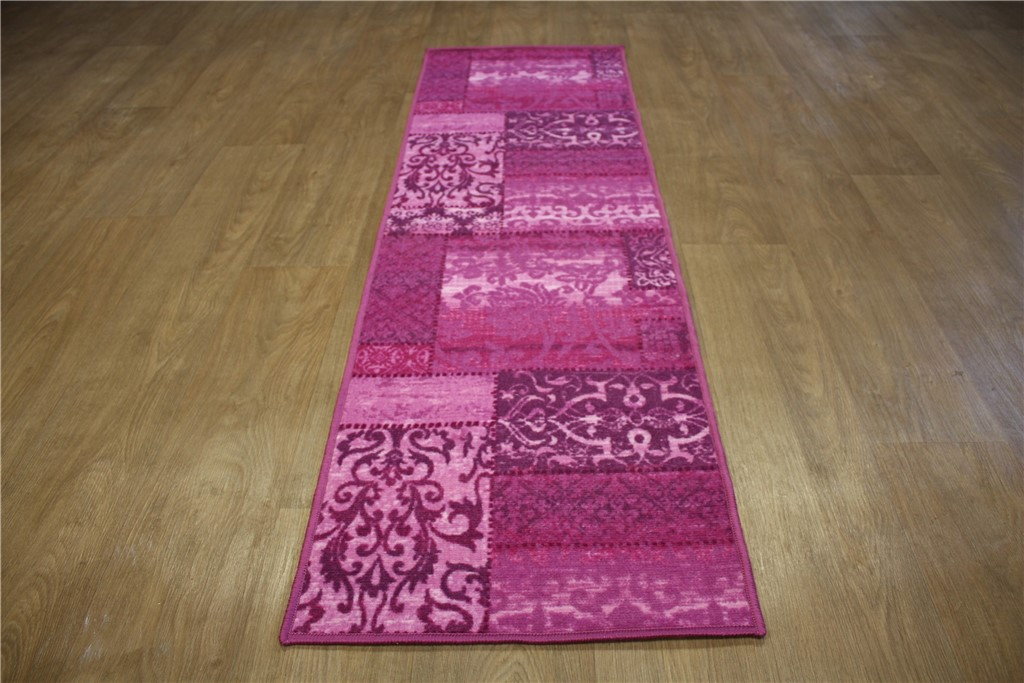 teppich velour l ufer flachgewebe patchwork 55x180 cm violett lila magenta ebay. Black Bedroom Furniture Sets. Home Design Ideas