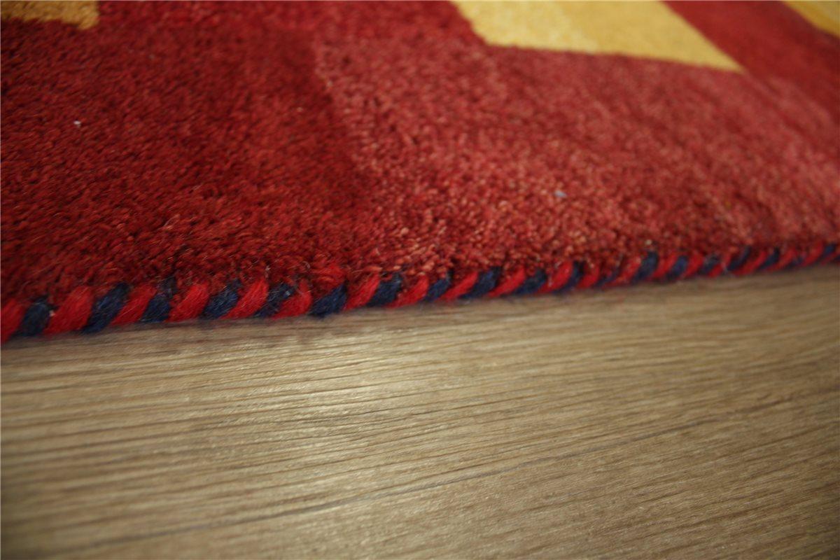 teppich gabbeh handgekn pft 120x180 cm 100 wolle gelb rot ebay. Black Bedroom Furniture Sets. Home Design Ideas