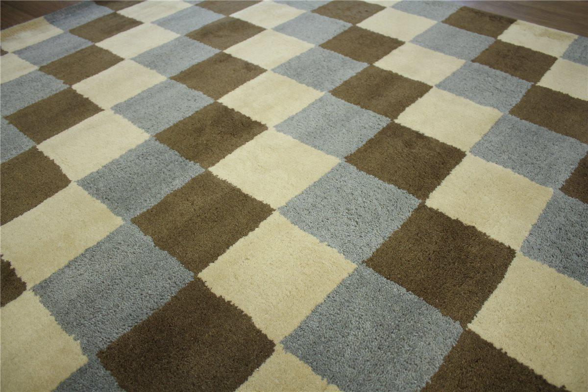 teppich schurwolle 150x230 cm 100 wolle handgetuftet braun creme grau kariert ebay. Black Bedroom Furniture Sets. Home Design Ideas