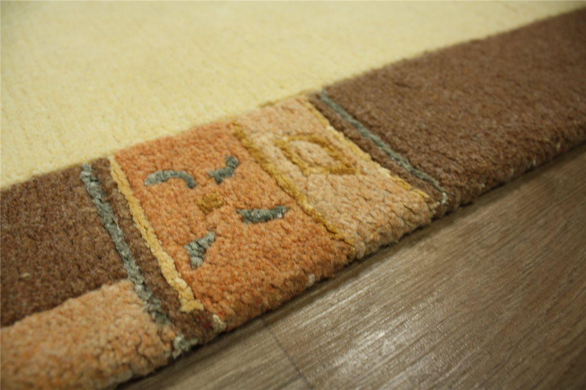 Tapis Nepal Pont 70x140 cm 100% proportion de soie laine marron ...